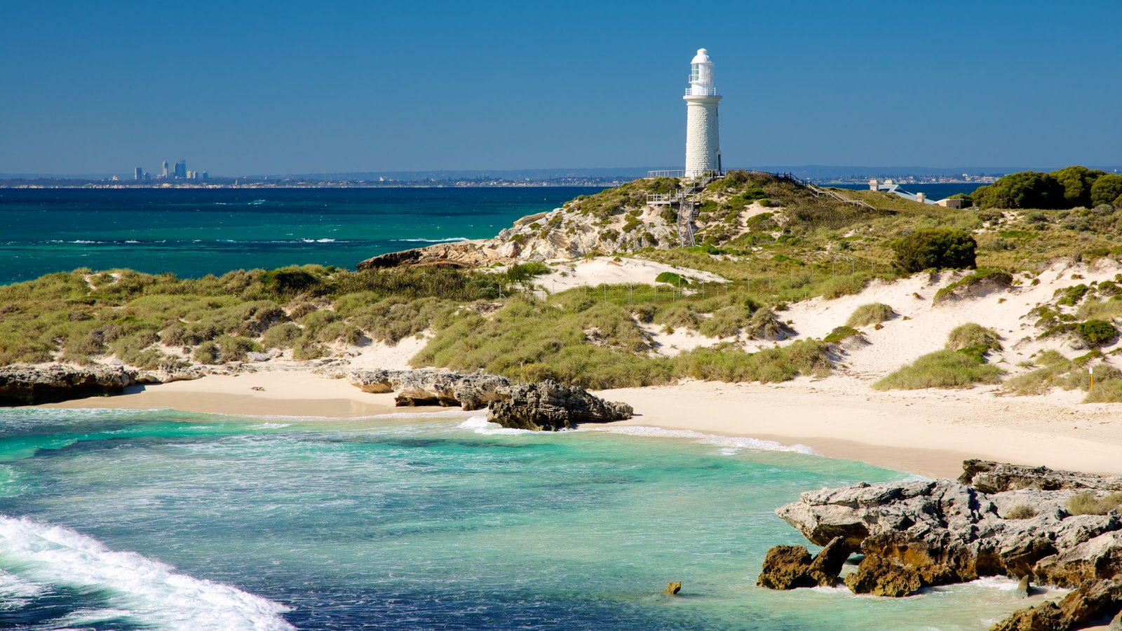 Rottnest Island featuring a sandy beach, a lighthouse and landscape views