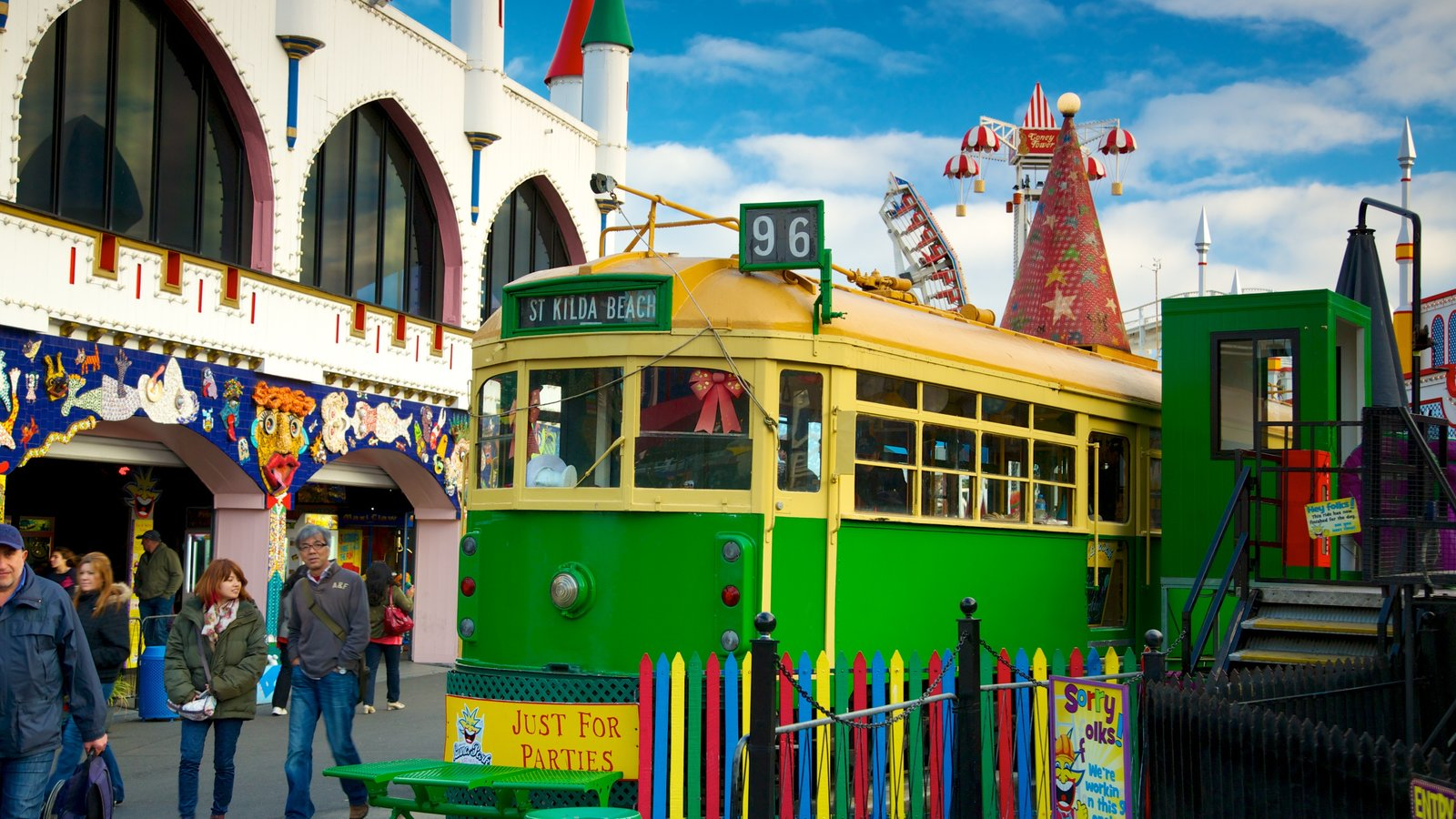 Luna Park which includes rides and railway items