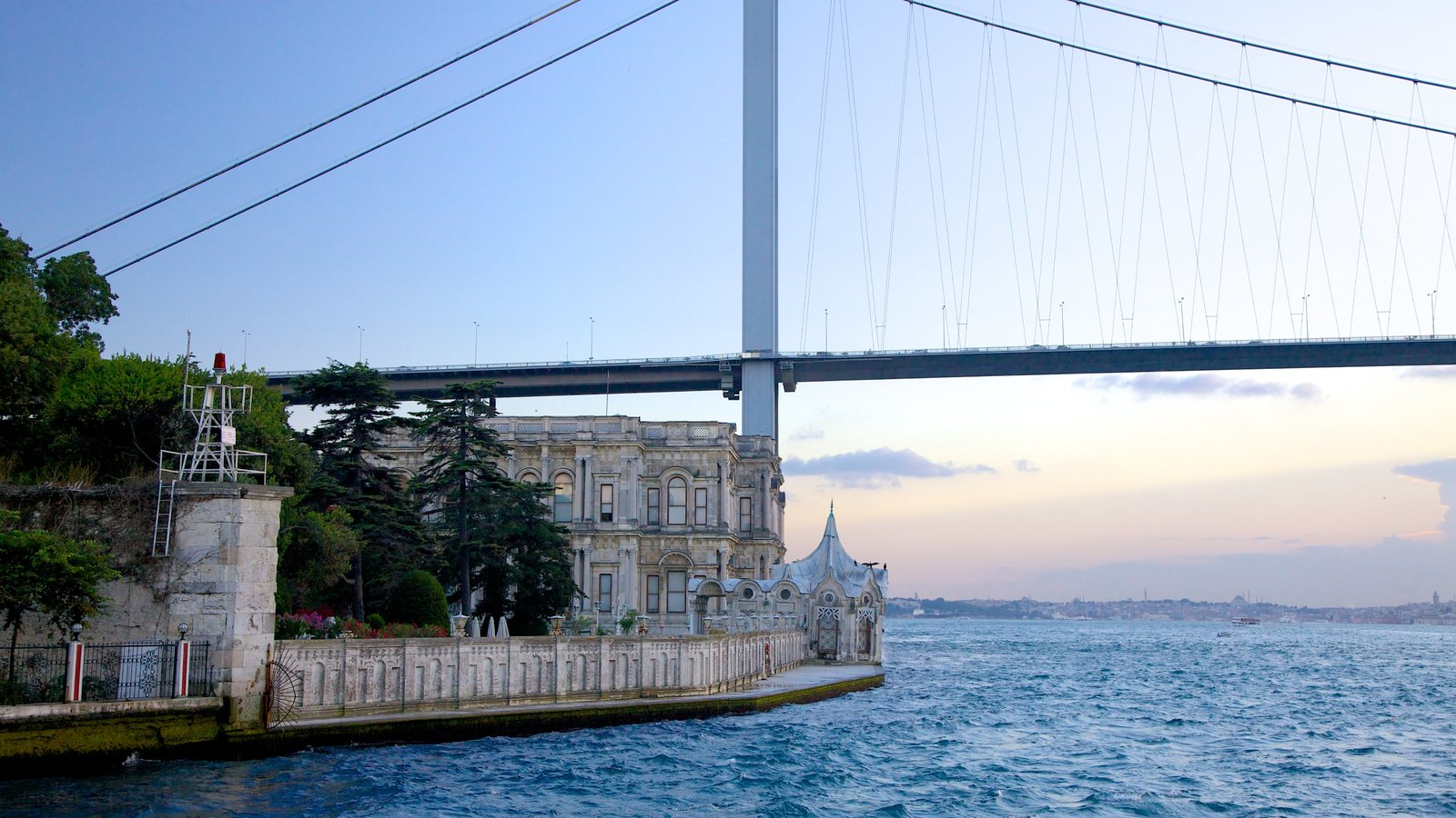 Beylerbeyi Palace which includes a bridge, general coastal views and heritage architecture