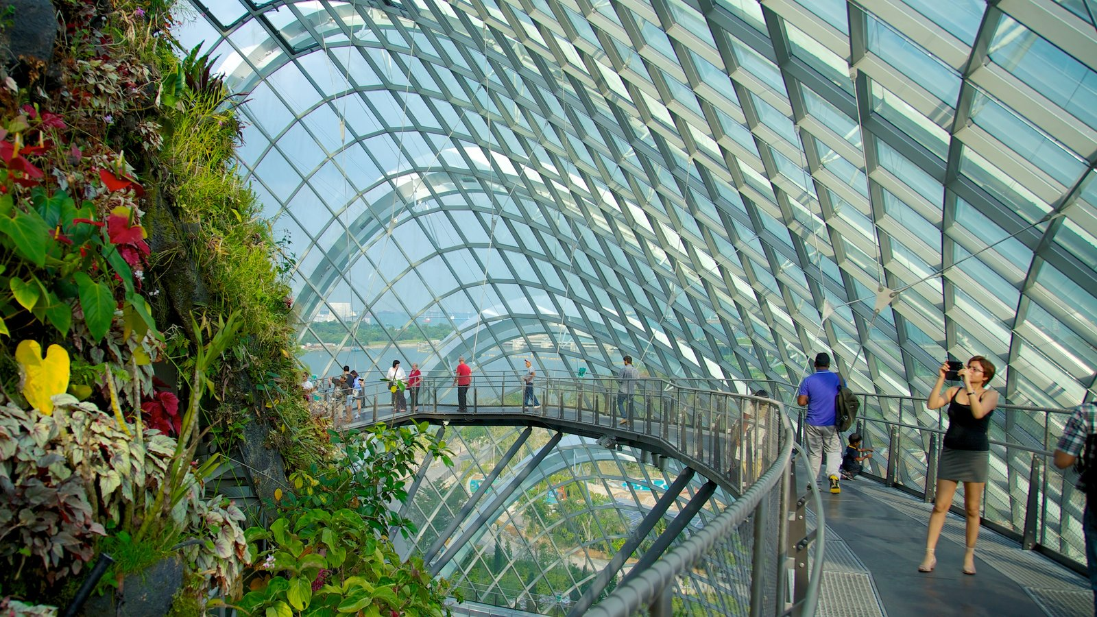 Gardens by the Bay ofreciendo vistas interiores, arquitectura moderna y un jardín