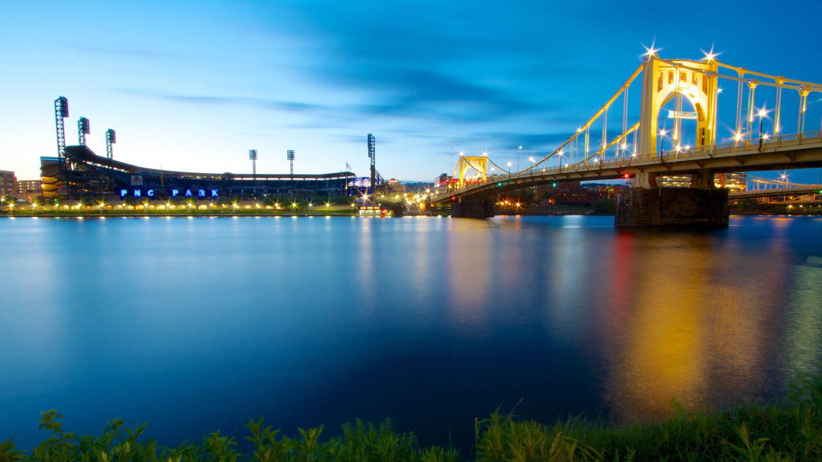 Roberto Clemente Bridge mostrando uma baía ou porto, uma cidade e uma ponte suspensa ou passarela entre as árvores