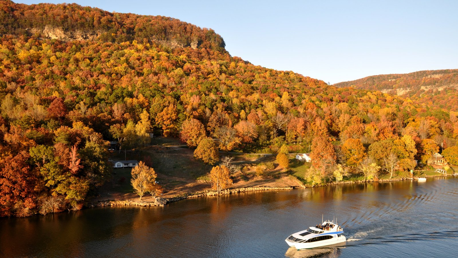 Chattanooga ofreciendo vistas de paisajes, un río o arroyo y los colores del otoño