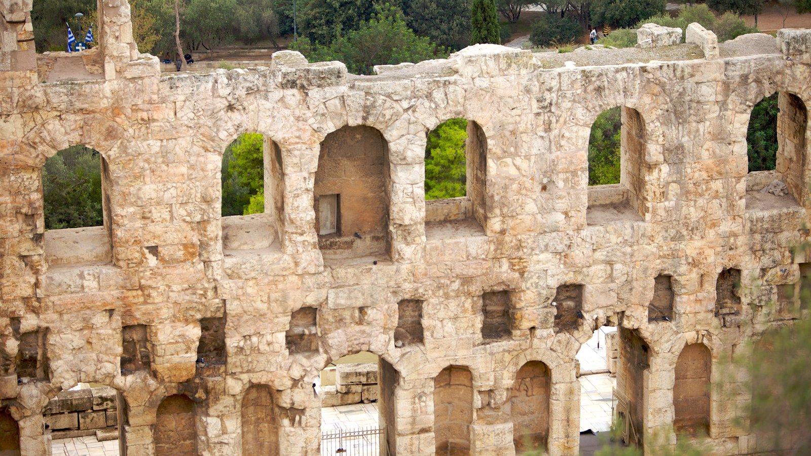 Acrópole caracterizando uma ruína e arquitetura de patrimônio