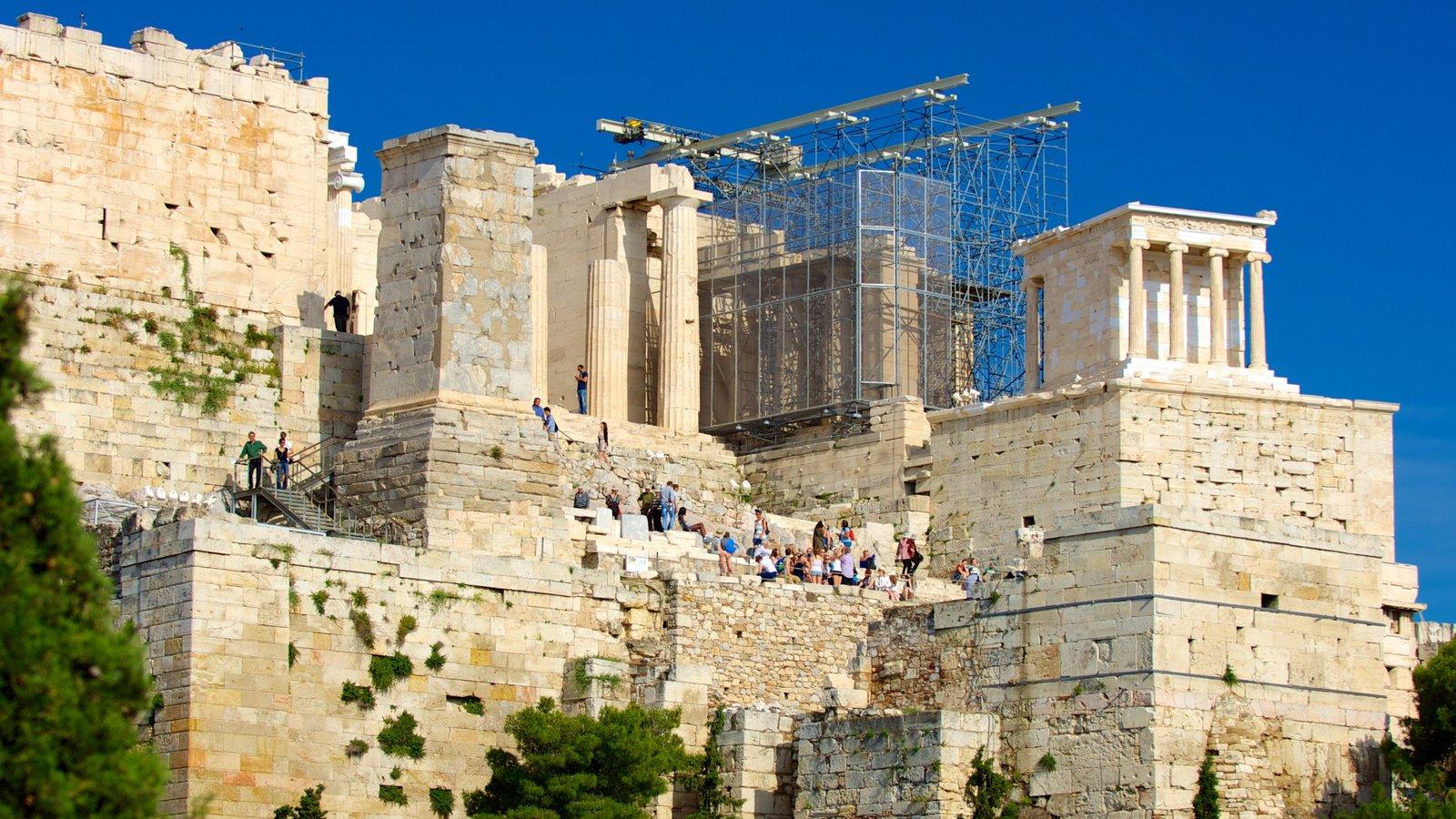 Acrópole que inclui uma ruína, elementos de patrimônio e arquitetura de patrimônio