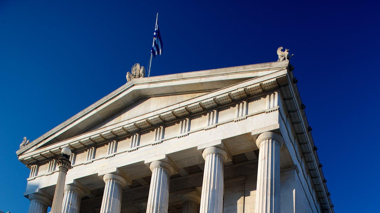 Biblioteca Nacional da Grécia que inclui um edifício administrativo e arquitetura de patrimônio