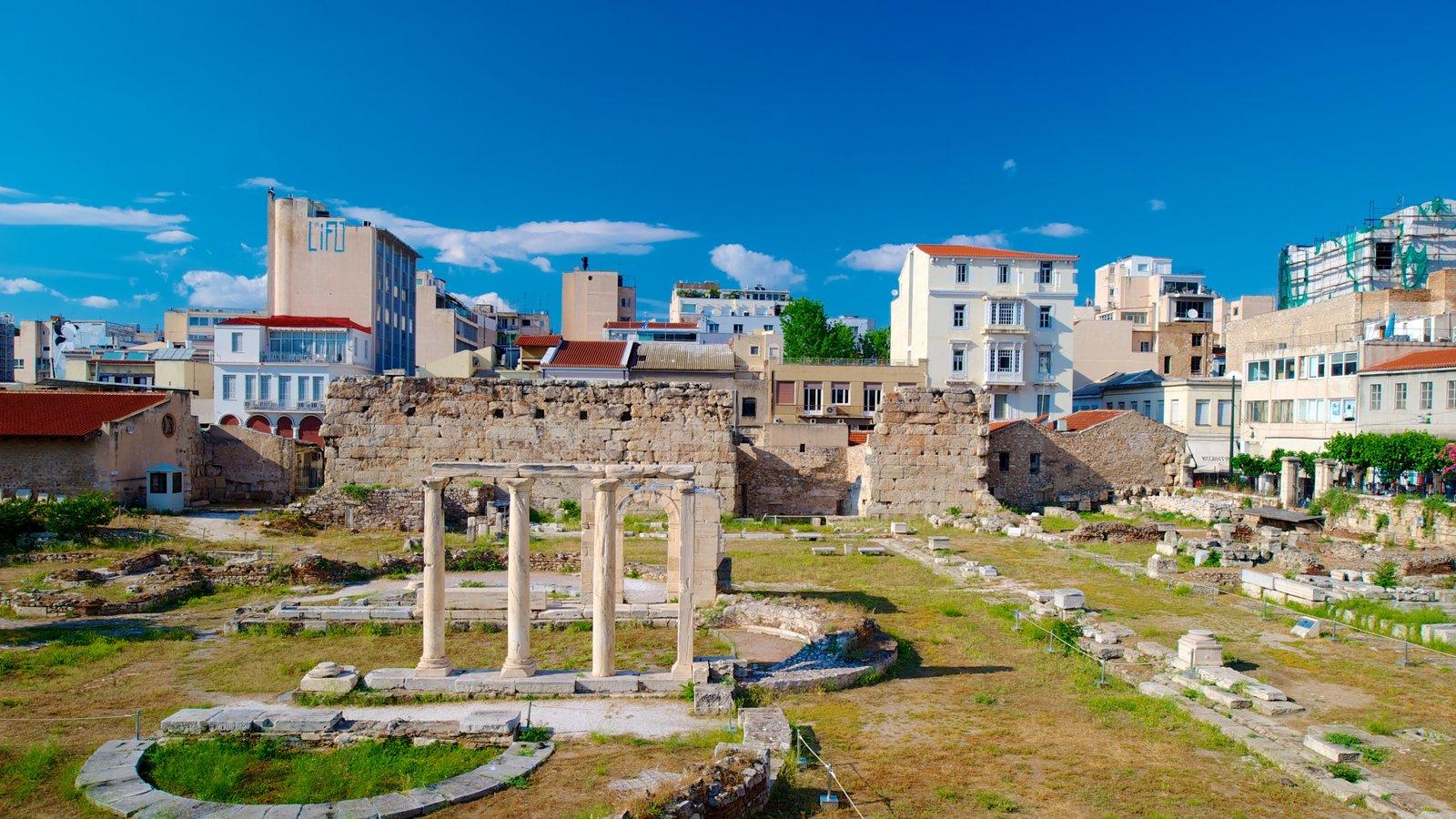 Ágora Romana mostrando uma cidade, uma ruína e elementos de patrimônio