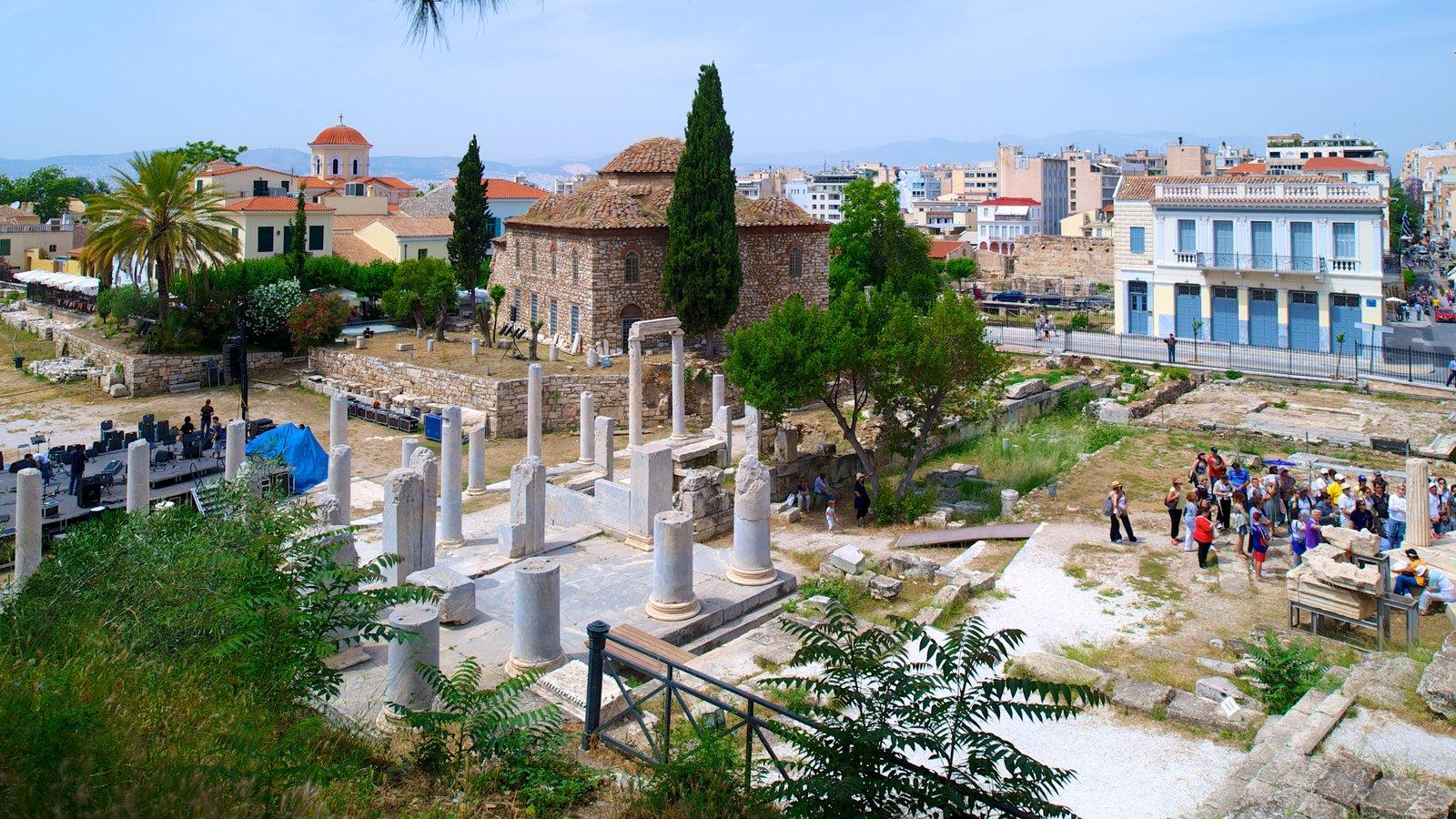 Ágora Romana que inclui elementos de patrimônio, uma ruína e uma cidade