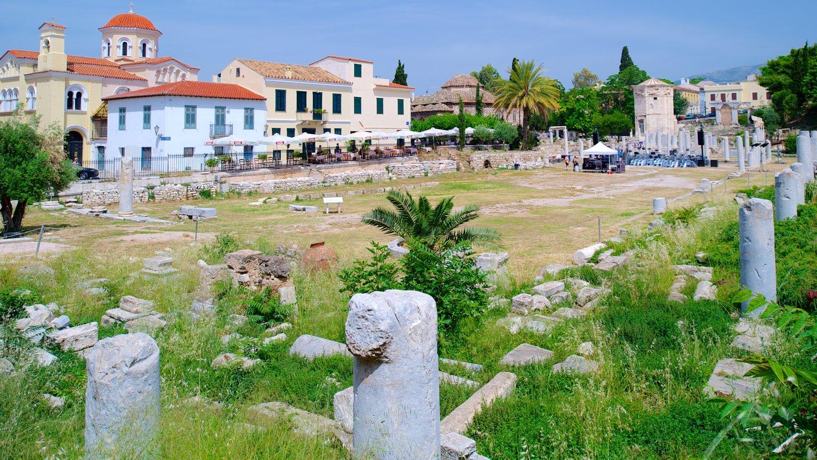 Ágora Romana caracterizando uma ruína, uma cidade e um jardim