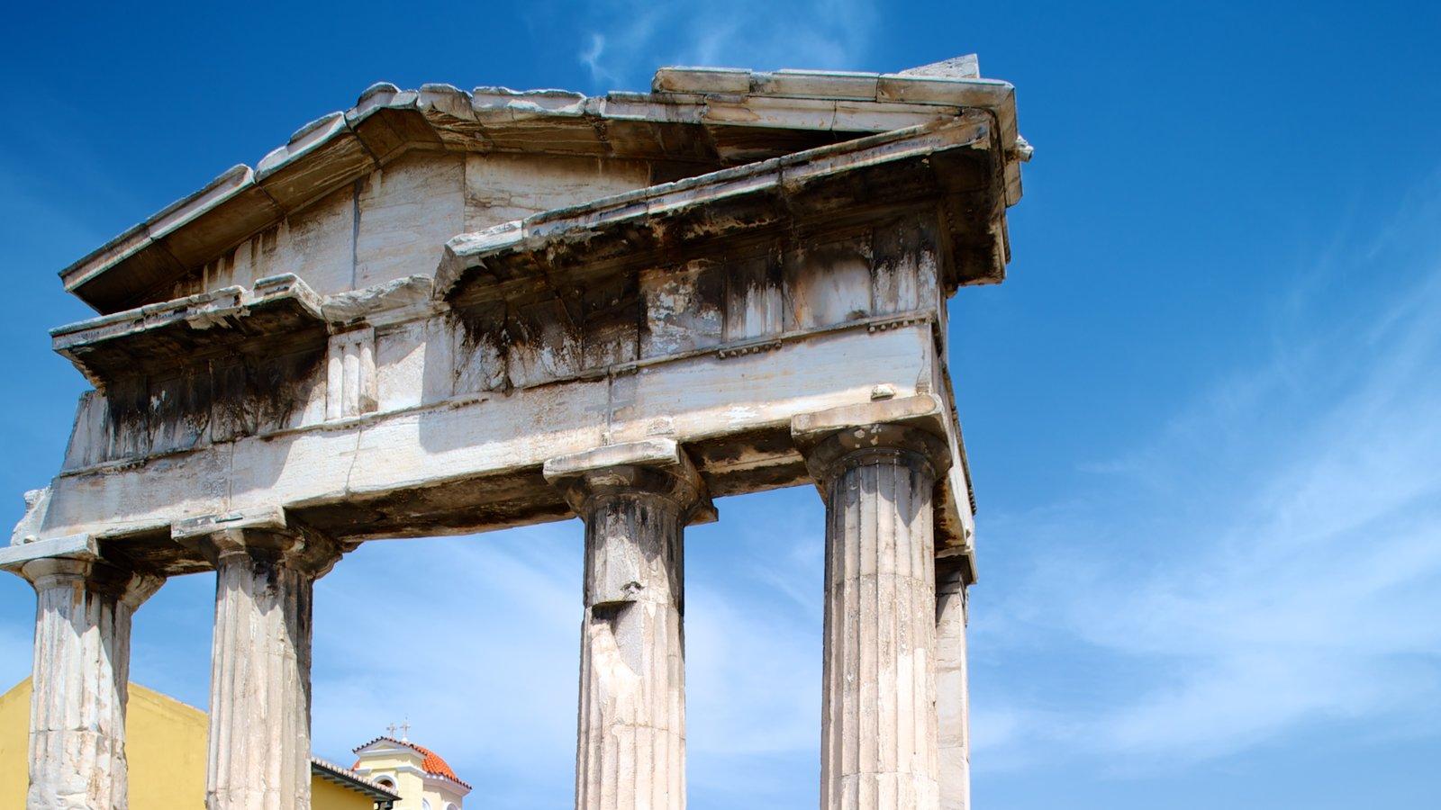 Ágora Romana caracterizando elementos de patrimônio e ruínas de edifício