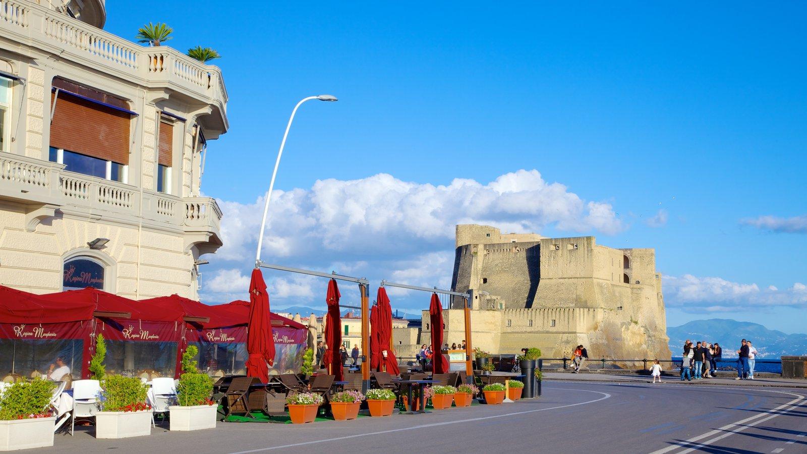 Castel dell\'Ovo which includes street scenes