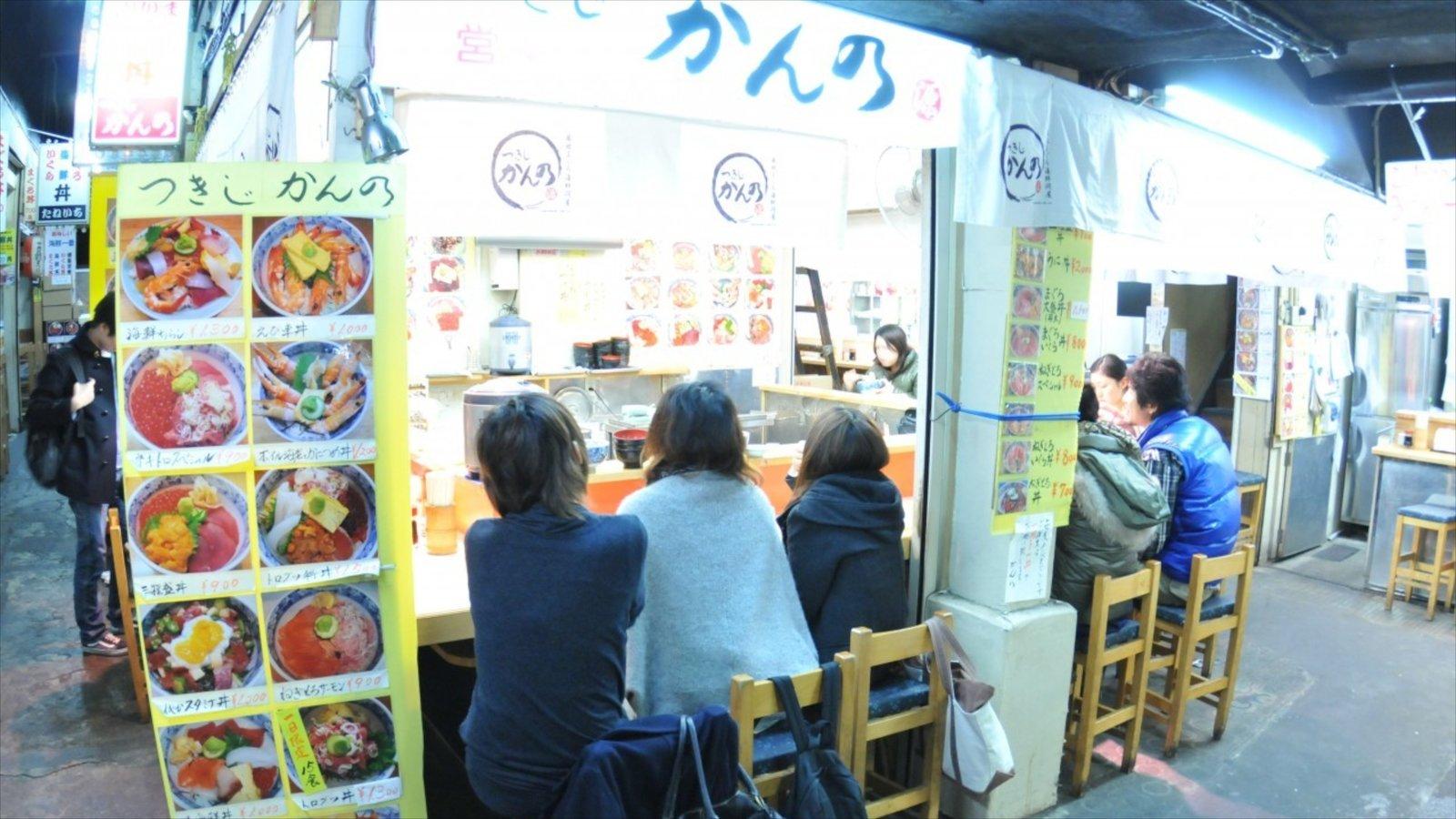 Tsukiji Fish Market showing interior views, outdoor eating and markets
