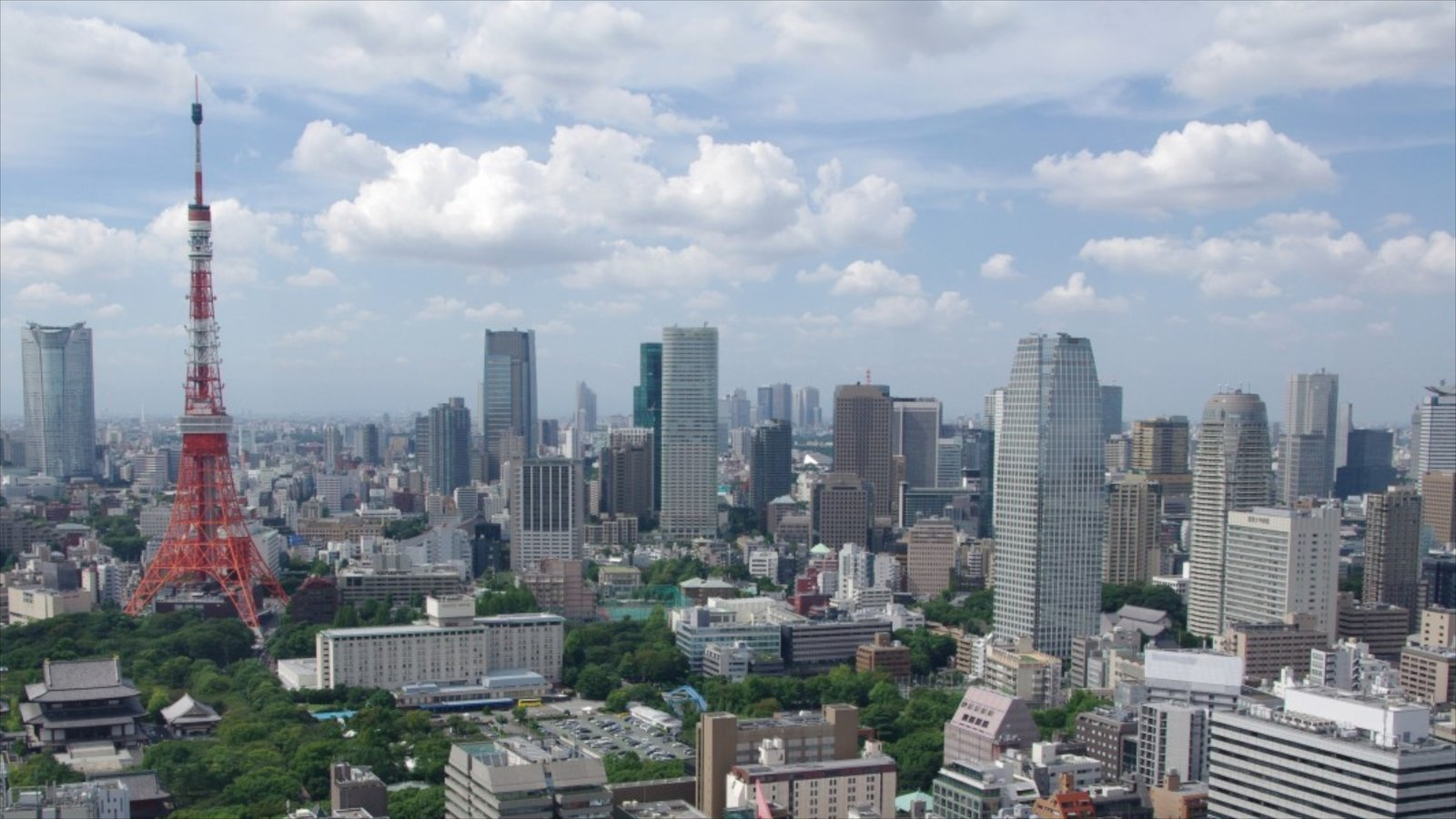 Tokyo Tower which includes a city and city views