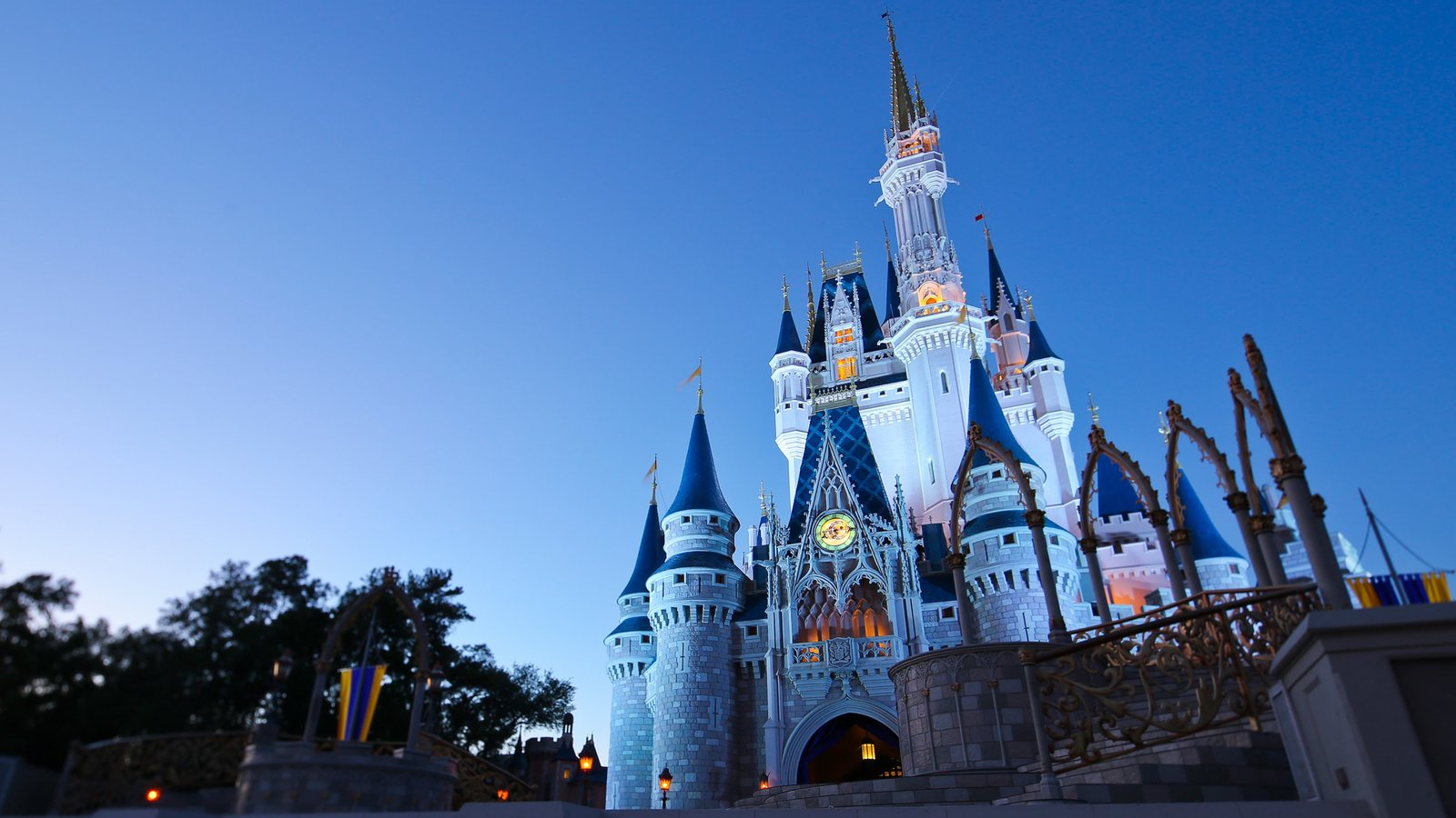 Walt Disney World showing rides, night scenes and a castle