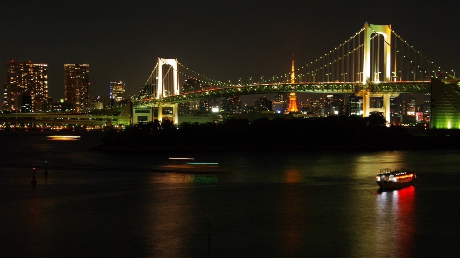 Tokyo featuring night scenes, a bridge and a city