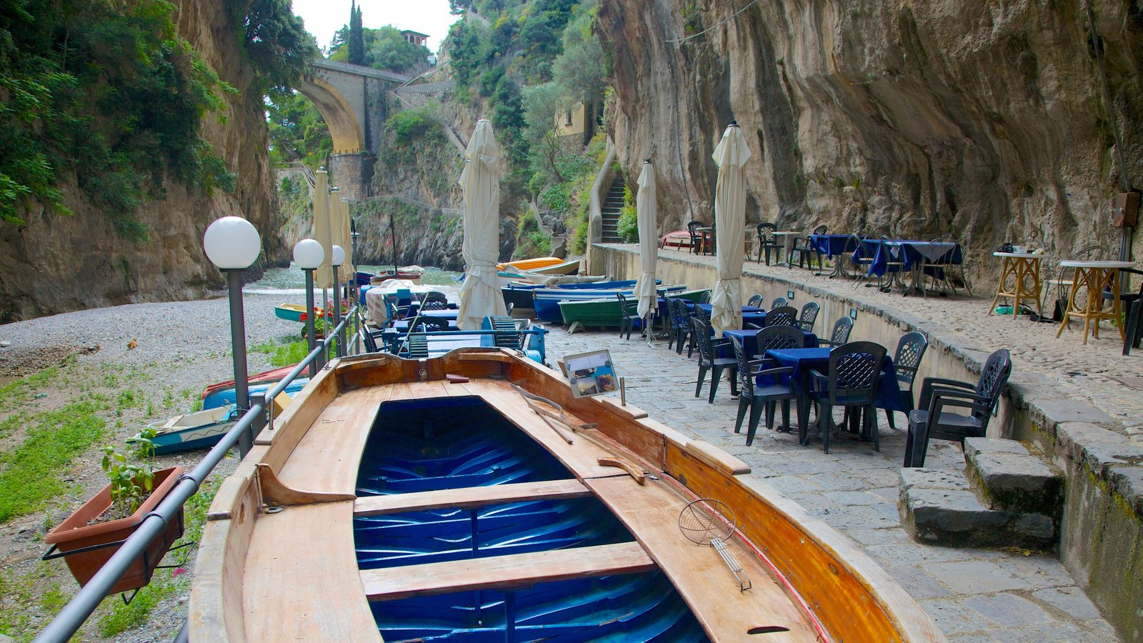 Fiordo di Furore featuring outdoor eating and boating