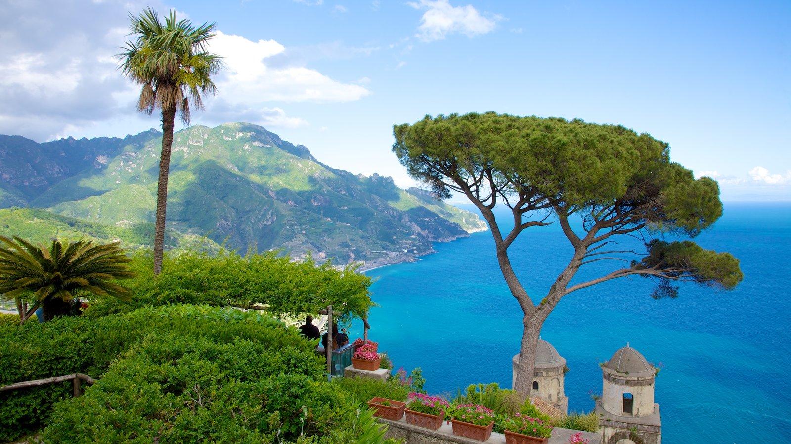 Villa Rufolo featuring landscape views, mountains and general coastal views