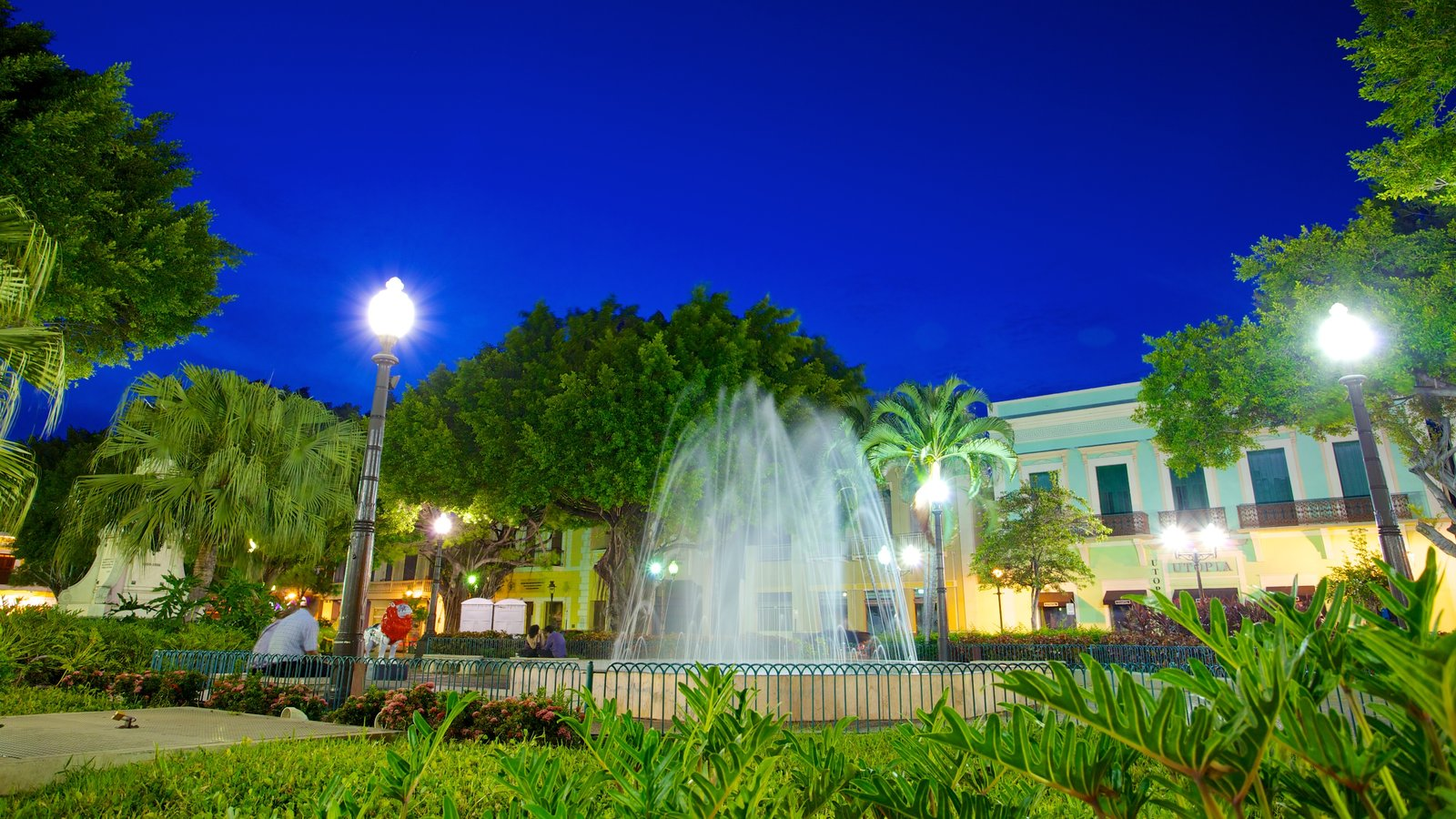 Parque de Bombas which includes night scenes, a fountain and a garden