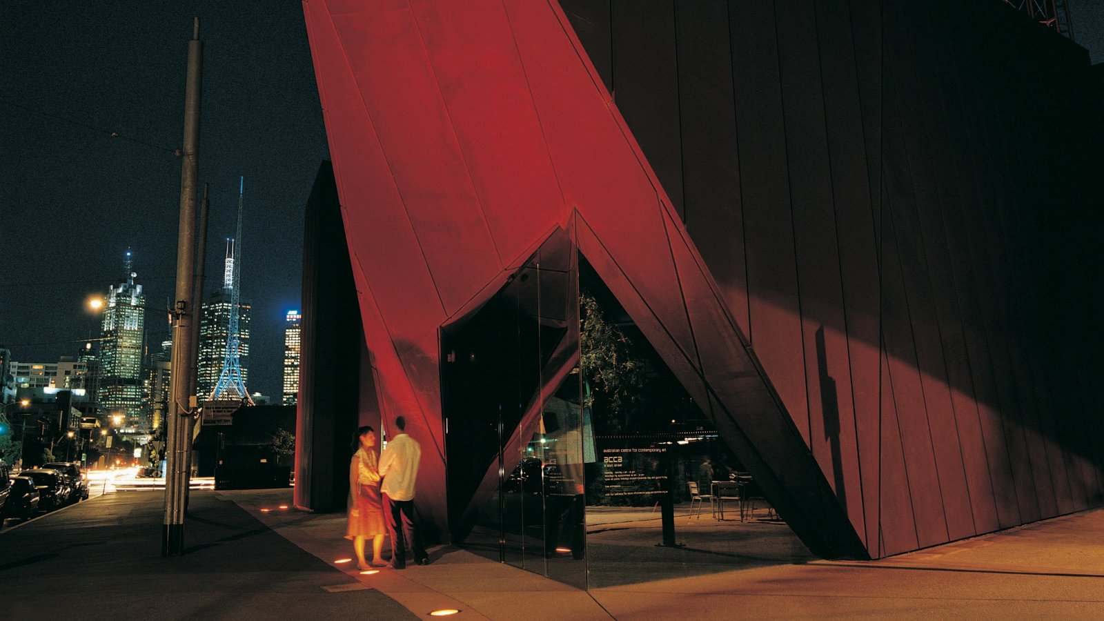 Australian Centre for Contemporary Art featuring night scenes, a city and street scenes