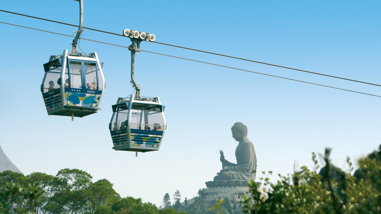 Ngong Ping 360 showing a statue or sculpture
