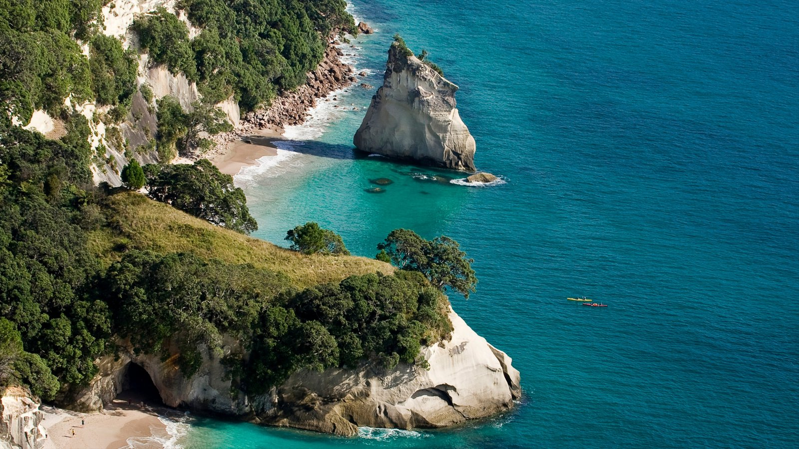 Cathedral Cove Beach which includes a beach, landscape views and rocky coastline