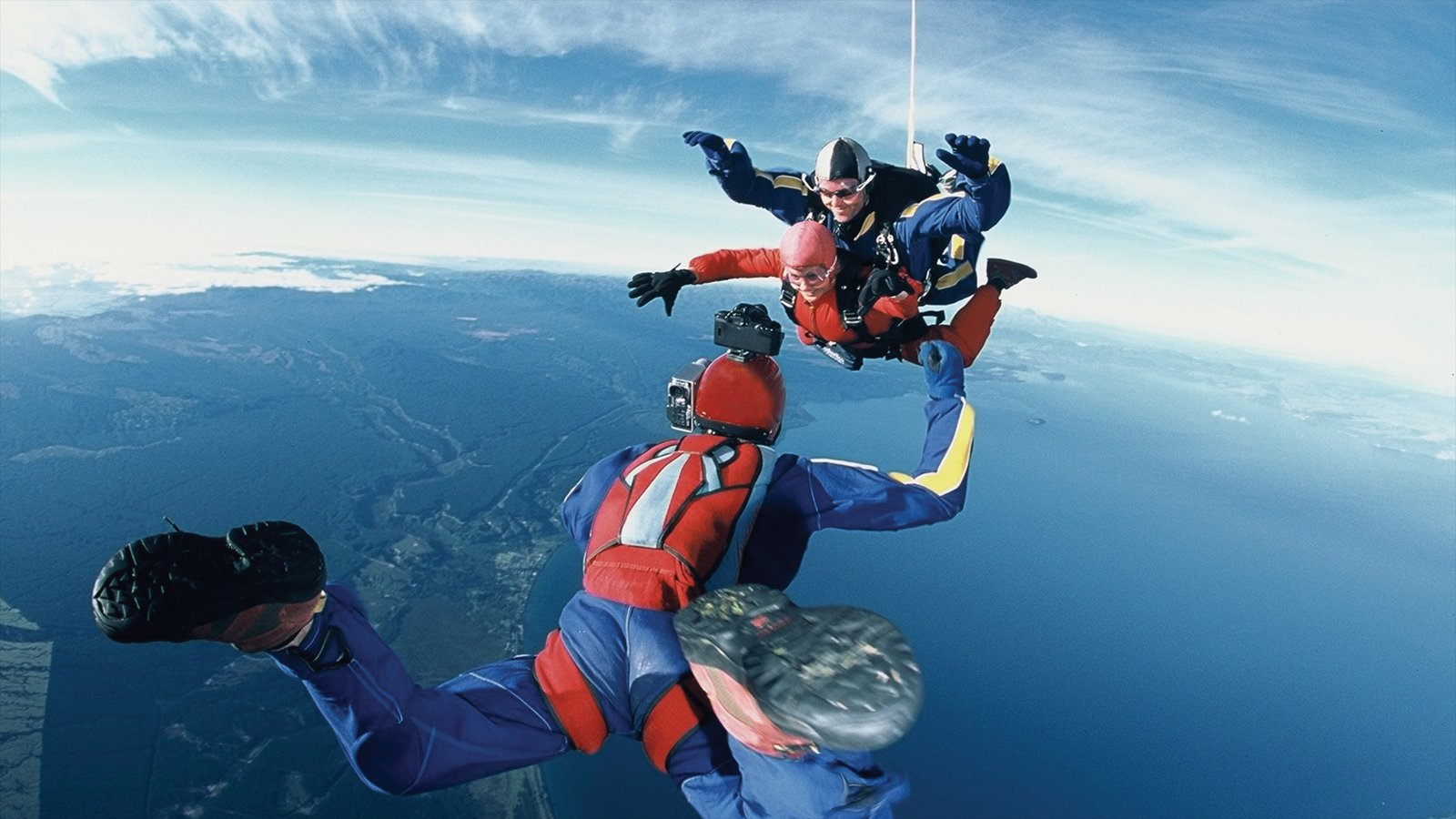 Taupo which includes a sporting event and skydiving as well as a small group of people