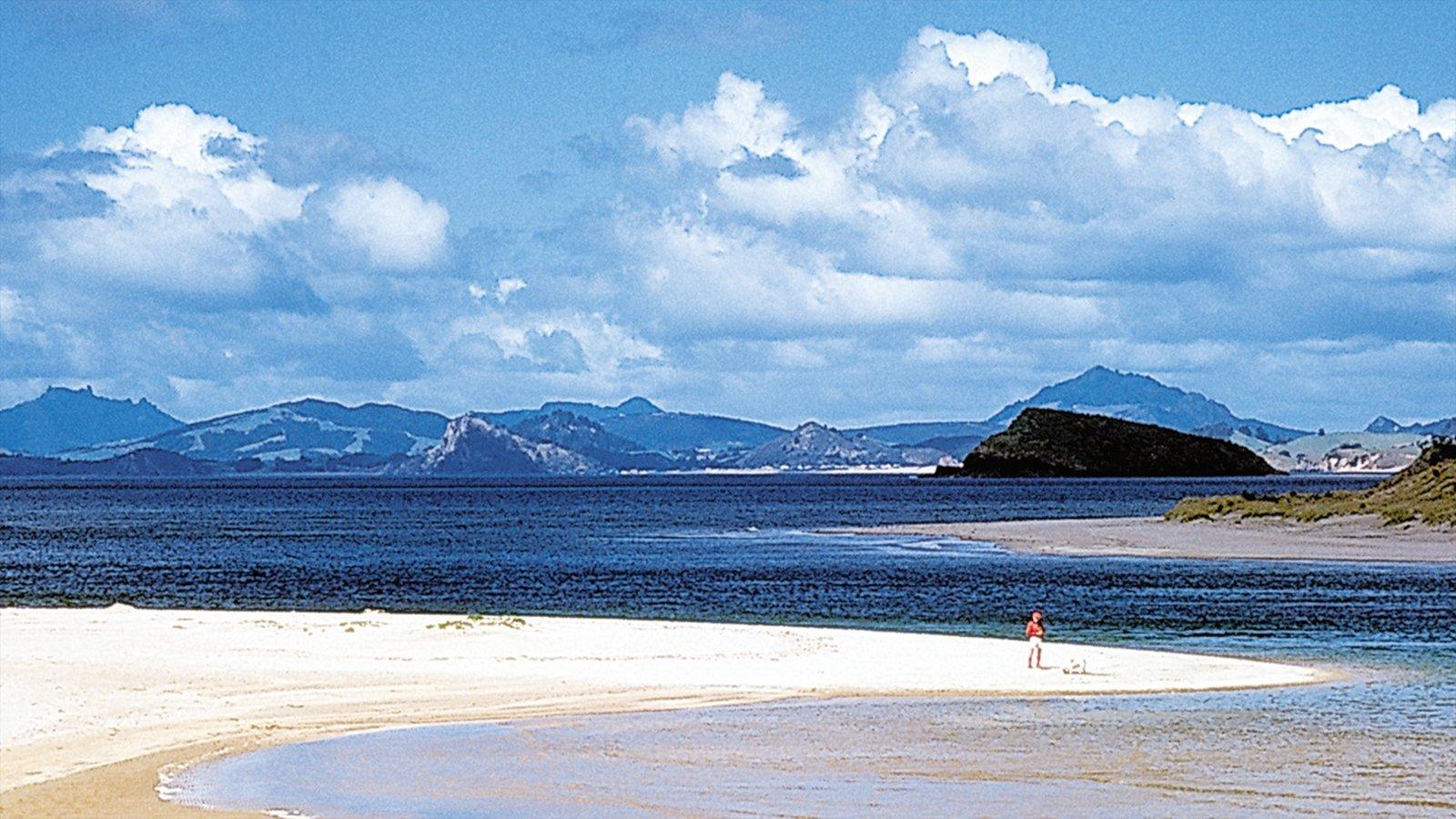 Northland mostrando montañas, una playa y horizonte