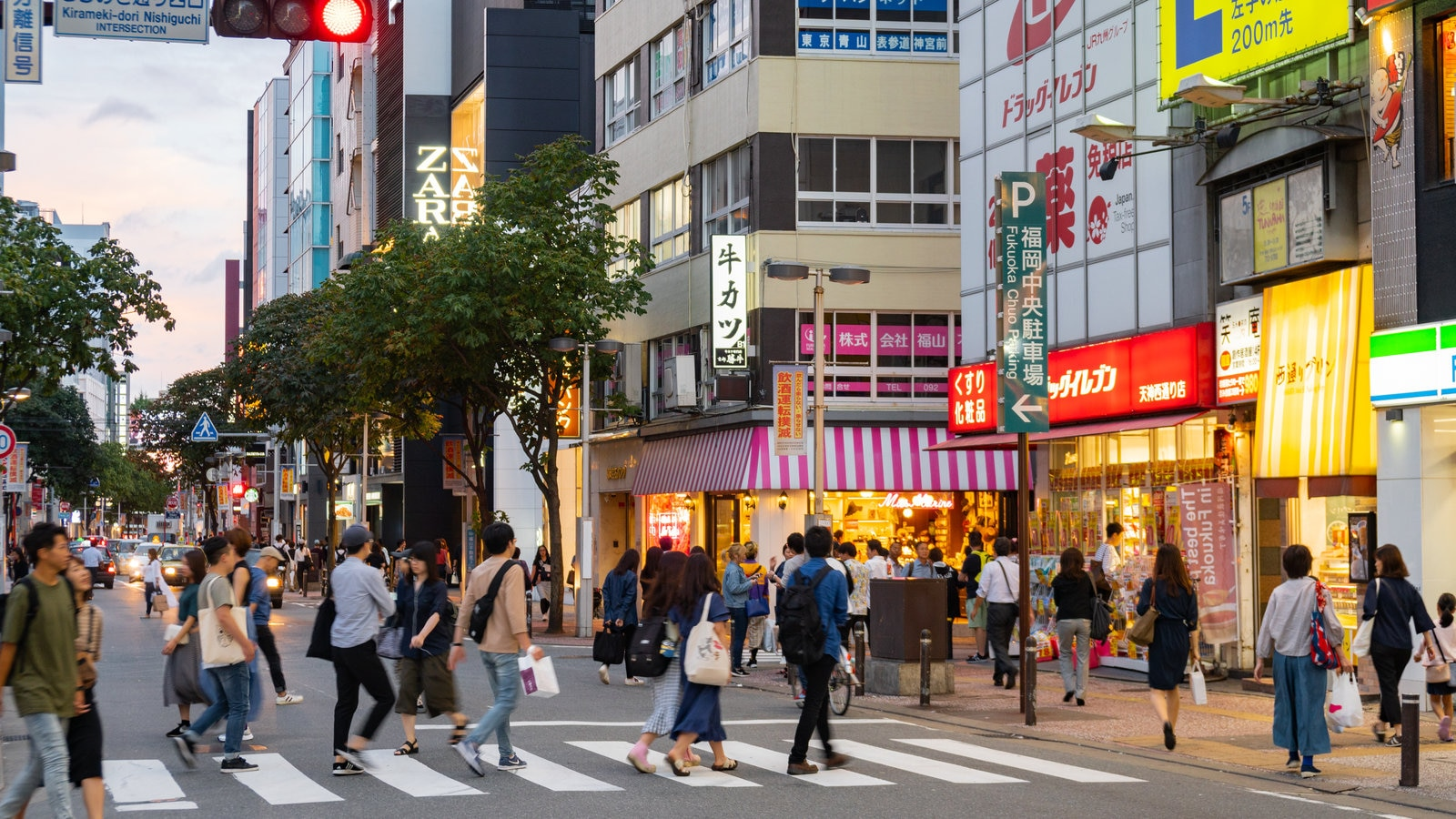 Tenjin featuring street scenes and a city