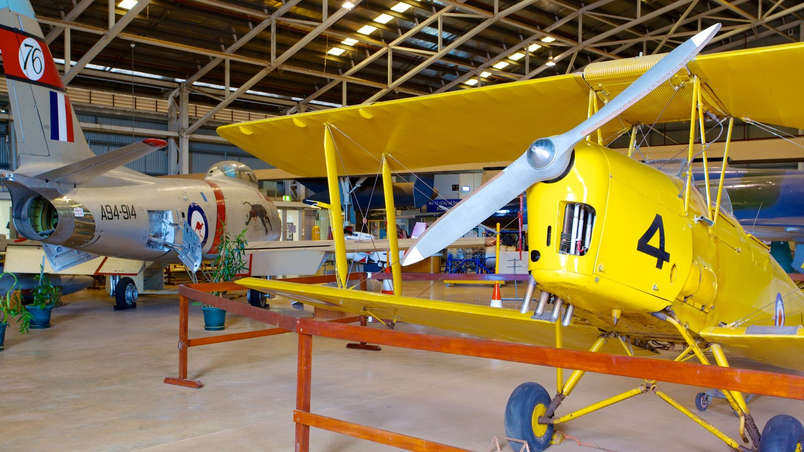 Australian Aviation Heritage Centre featuring aircraft and interior views