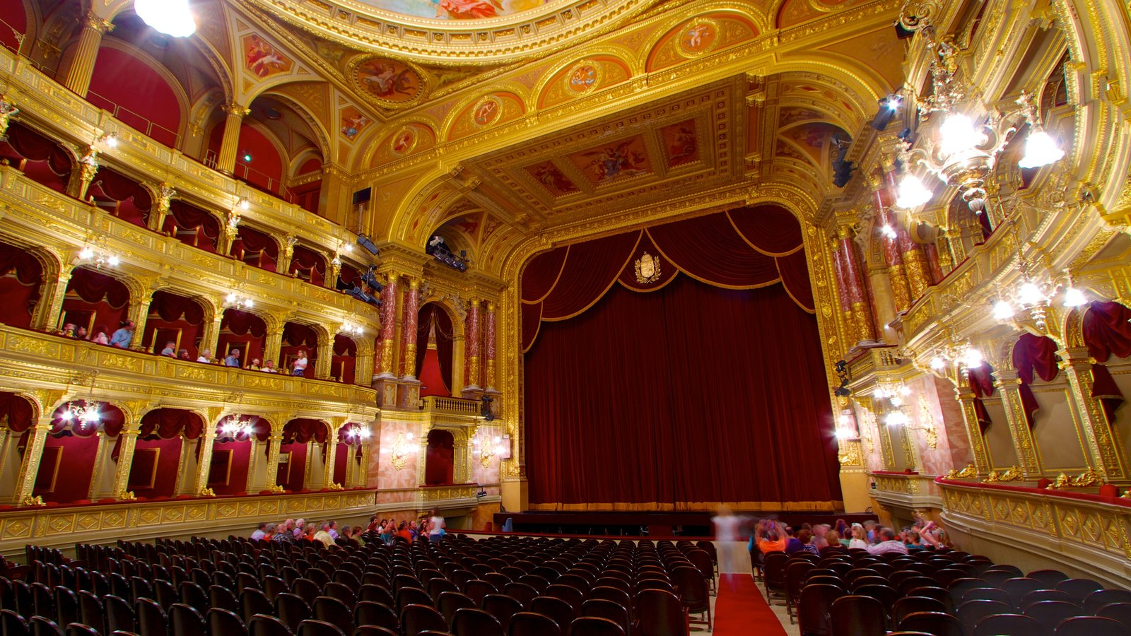 Hungarian State Opera House showing theatre scenes and interior views