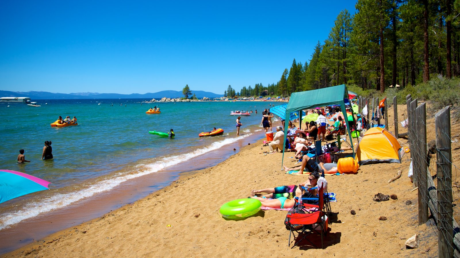 Zephyr Cove Beach Showing A And Swimming As Well Large Group Of People