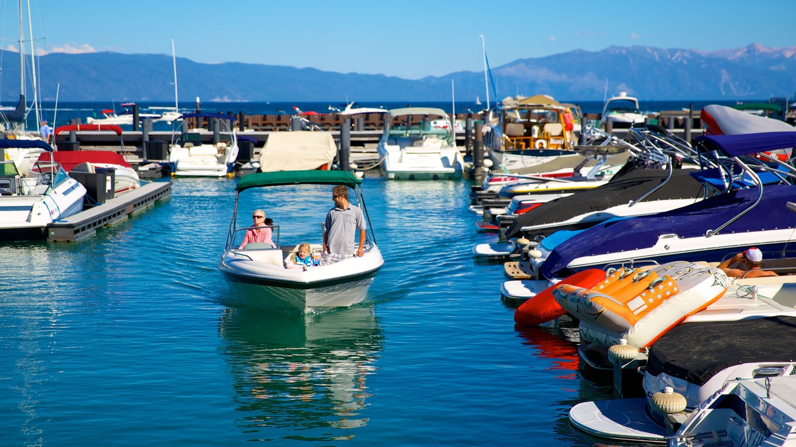 Tahoe City which includes boating, a bay or harbor and a marina