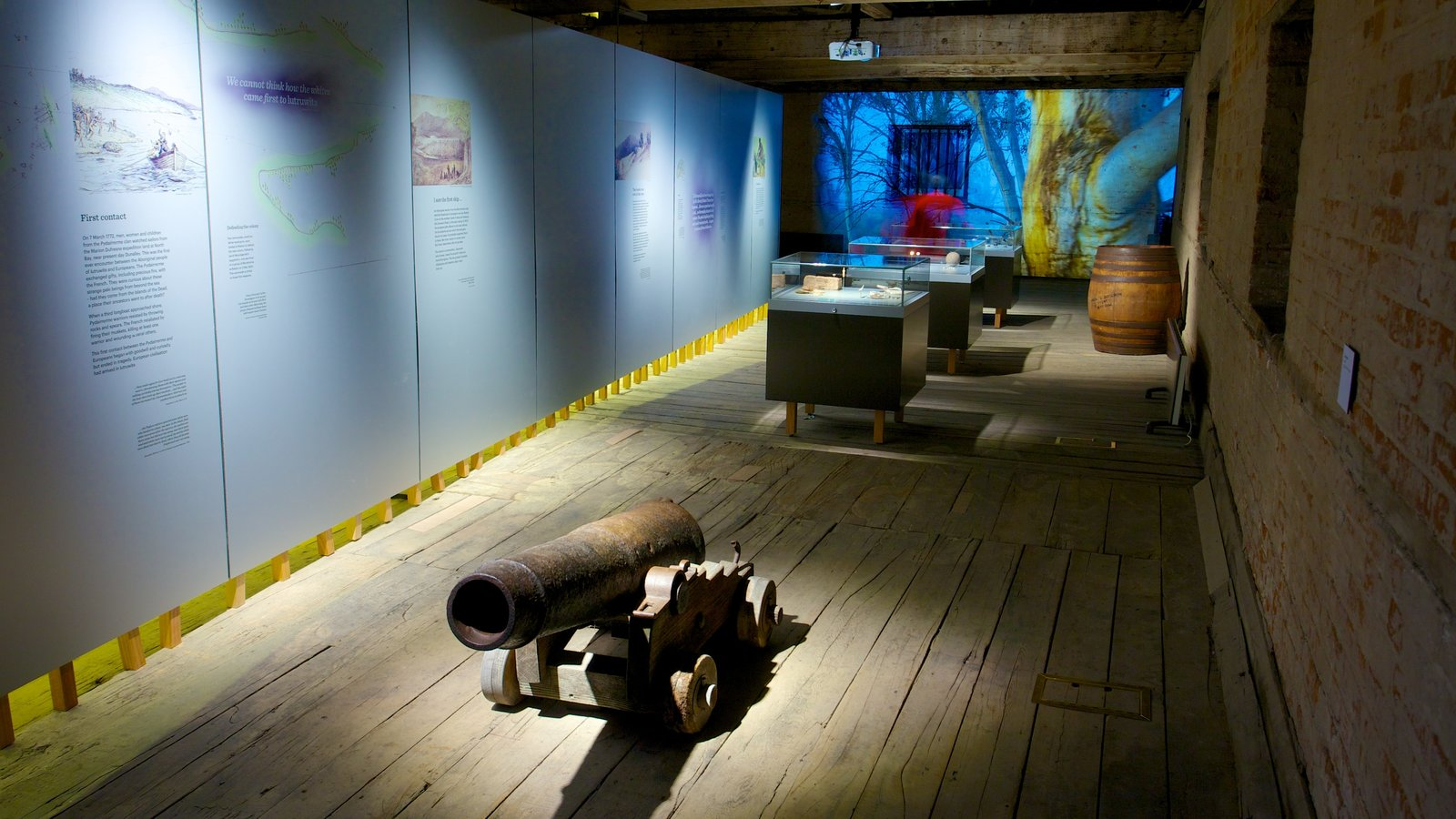 Tasmanian Museum and Art Gallery featuring interior views and art