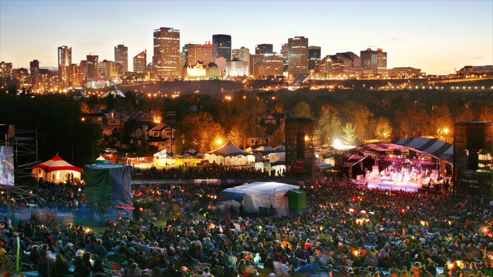Edmonton showing nightlife, performance art and a sunset