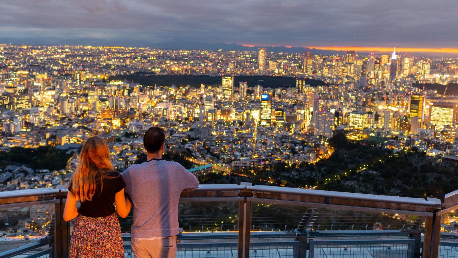 Kanto que inclui cenas noturnas, paisagem e uma cidade