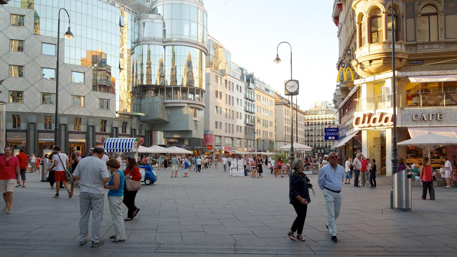 Stephansplatz mostrando estilo de vida de café, arquitectura moderna y una ciudad