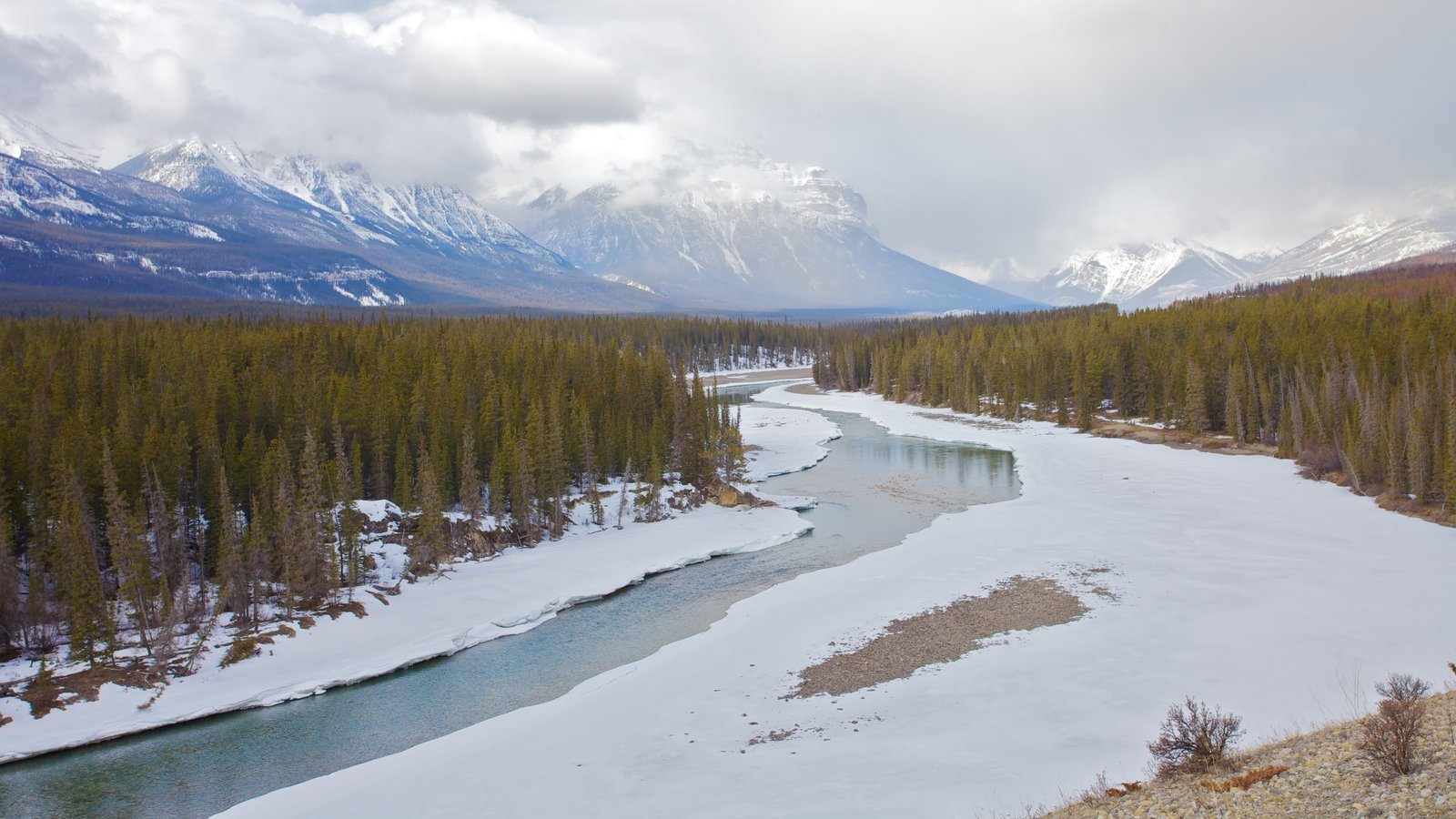 Icefields Parkway which includes tranquil scenes, landscape views and snow