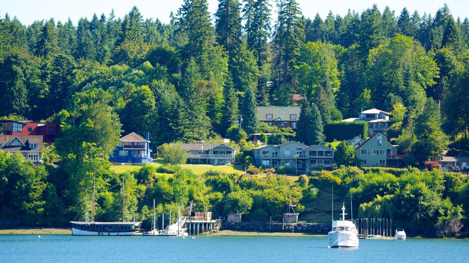 Bainbridge Island which includes a coastal town, boating and forests