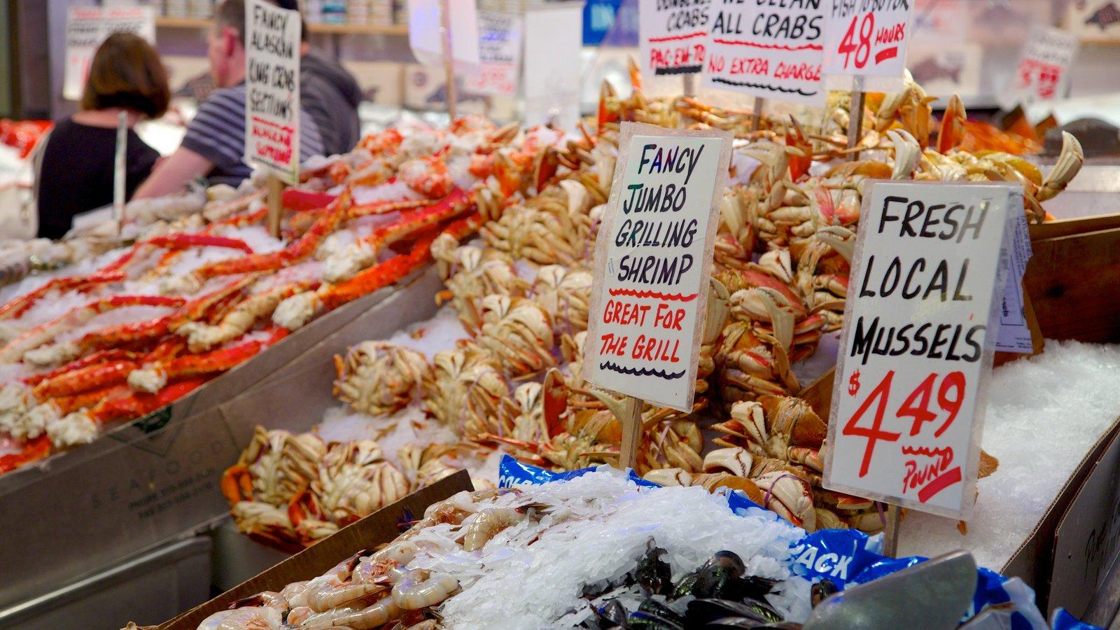 Pike Place Market ofreciendo mercados, comida y señalización
