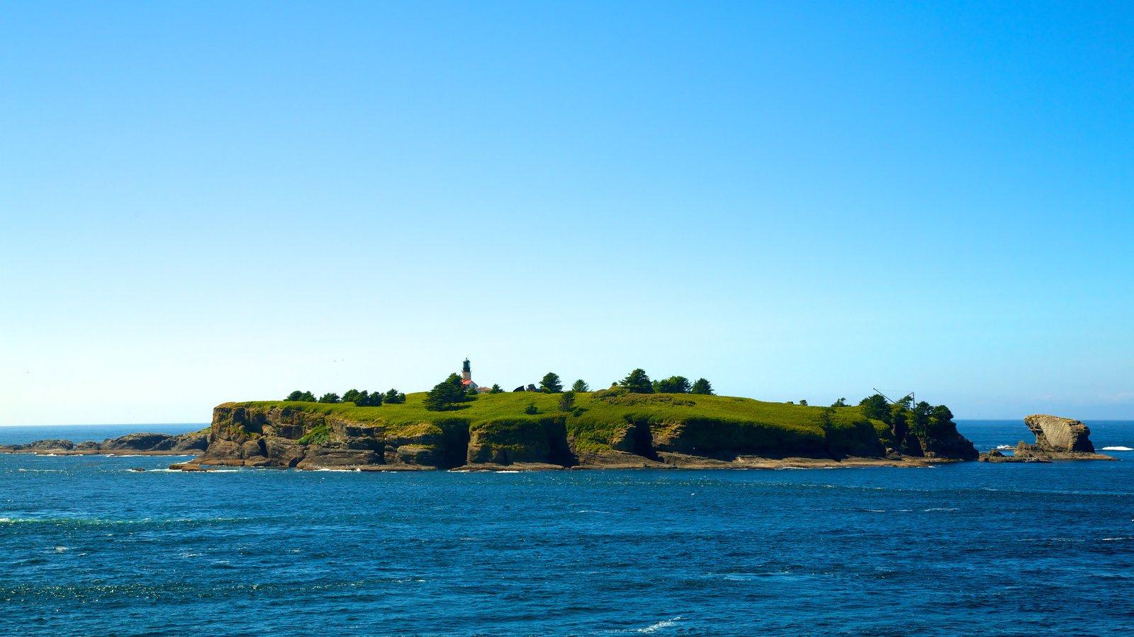 Cabo Flattery que incluye vistas de una isla, vistas generales de la costa y vistas de paisajes