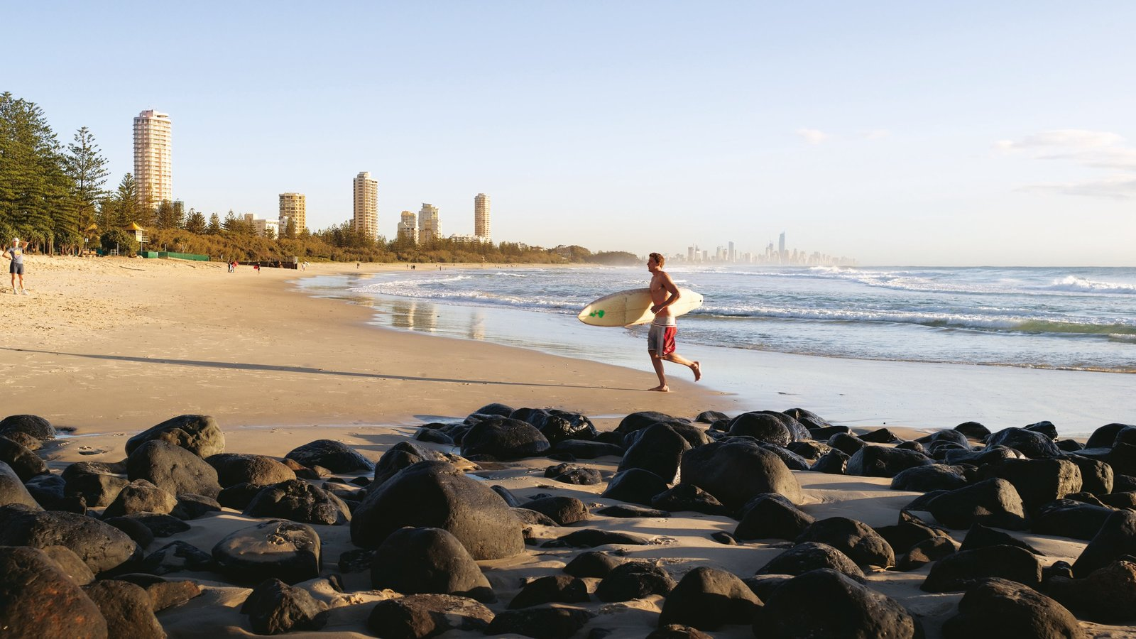 Coolangatta featuring tropical scenes, a skyscraper and surfing
