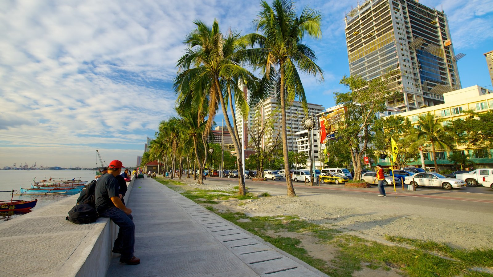 Manila showing a coastal town, tropical scenes and street scenes