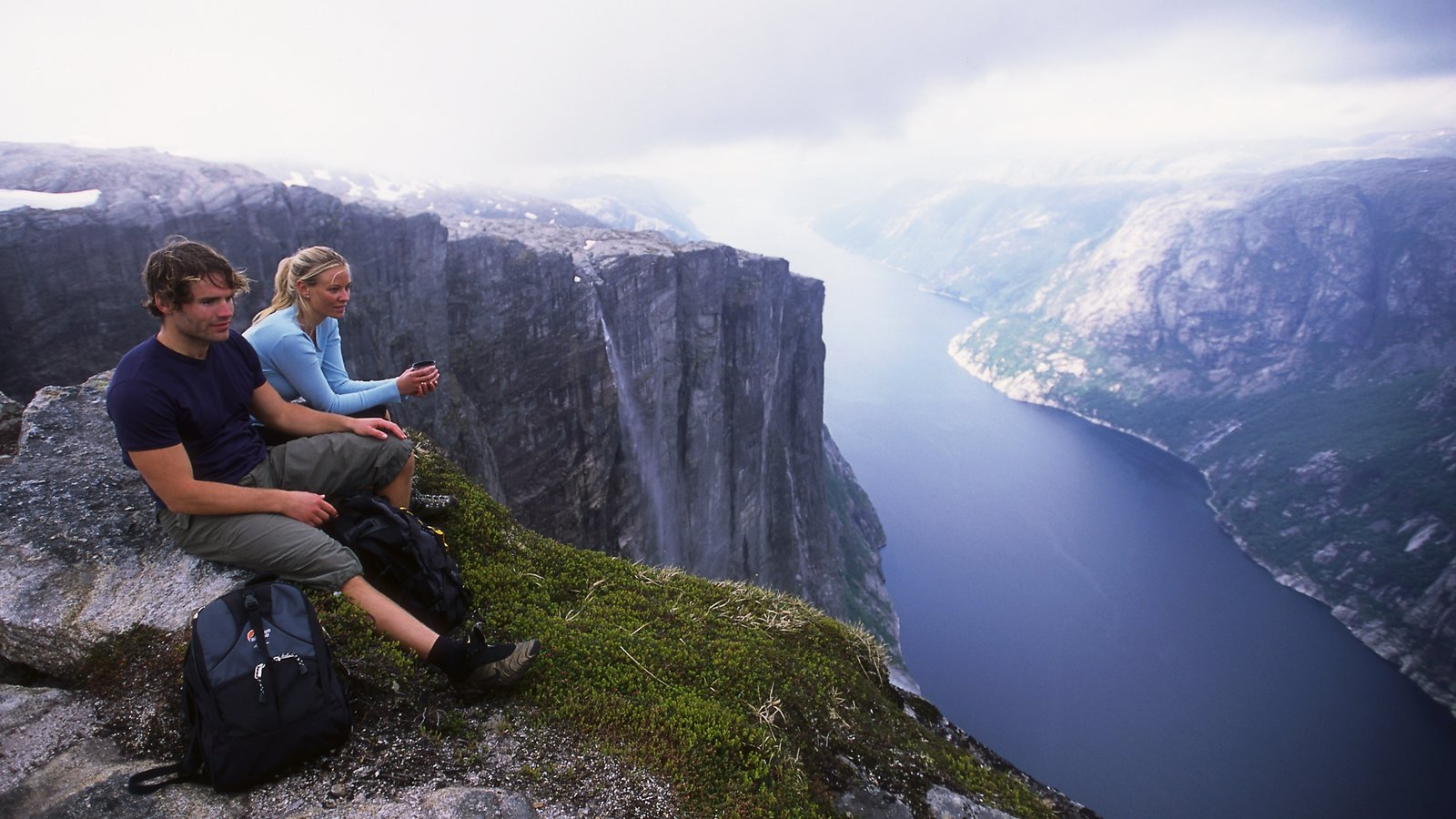 Kjerag featuring landscape views, a gorge or canyon and a river or creek