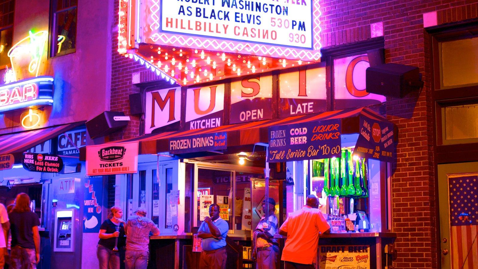 Beale Street ofreciendo escenas urbanas, vida nocturna y señalización