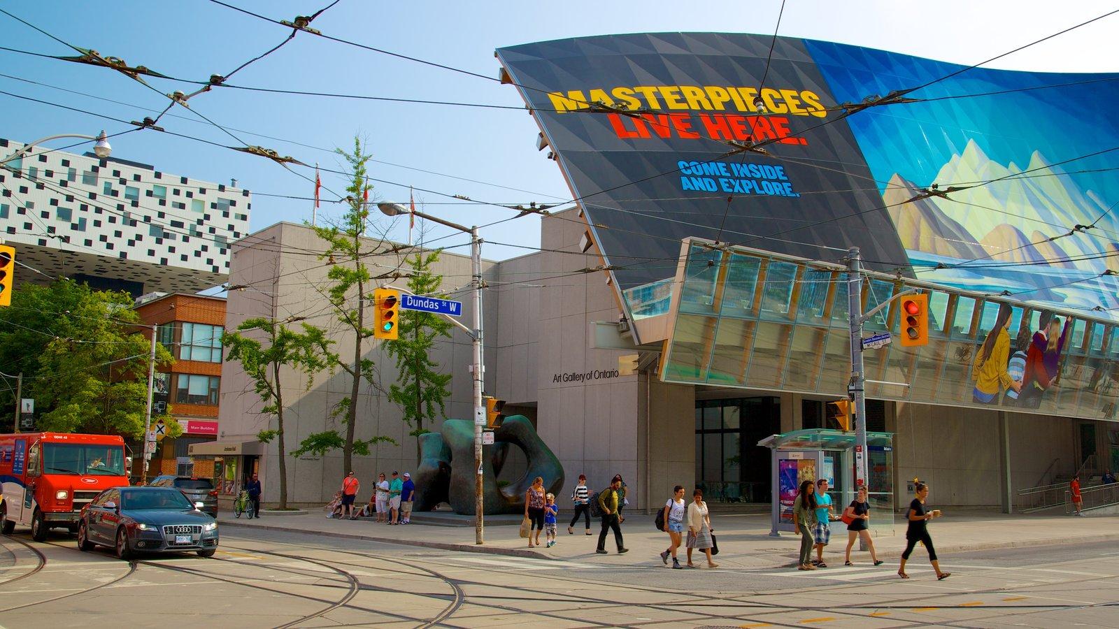 Galeria de Arte de Ontário caracterizando arquitetura moderna, arte e sinalização