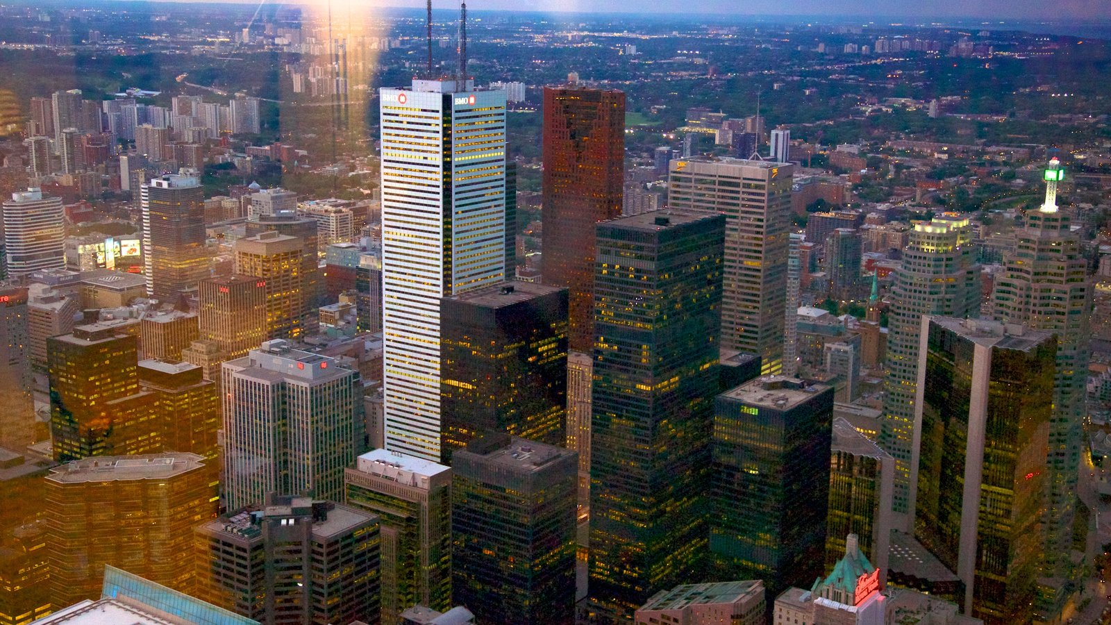 CN Tower showing a city, a skyscraper and central business district
