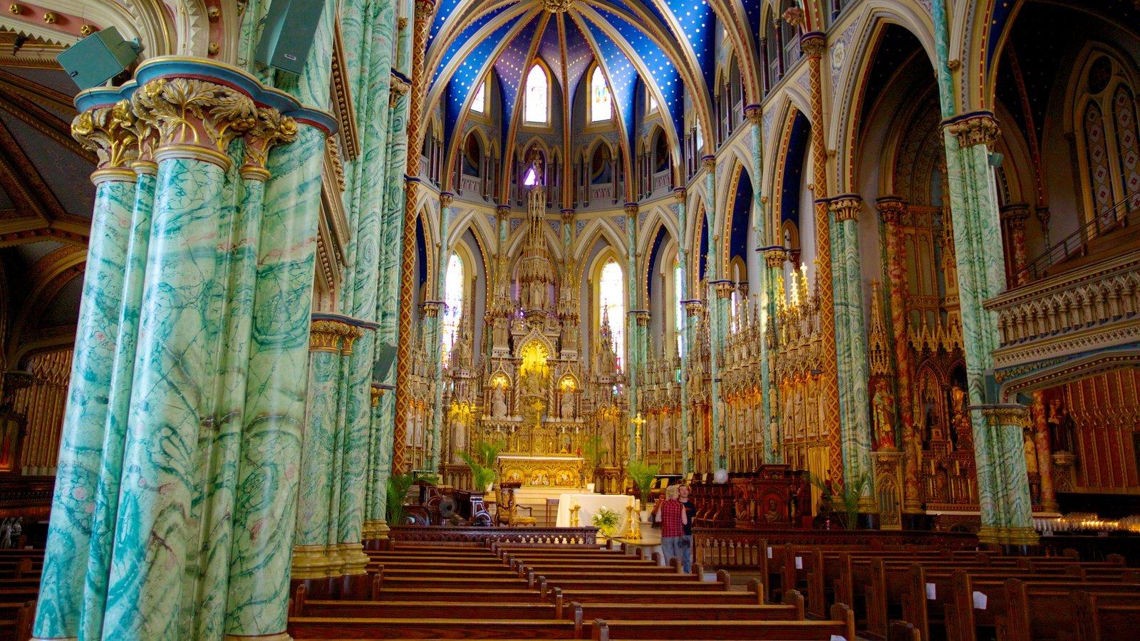 Notre-Dame Cathedral Basilica que inclui uma igreja ou catedral, elementos religiosos e vistas internas