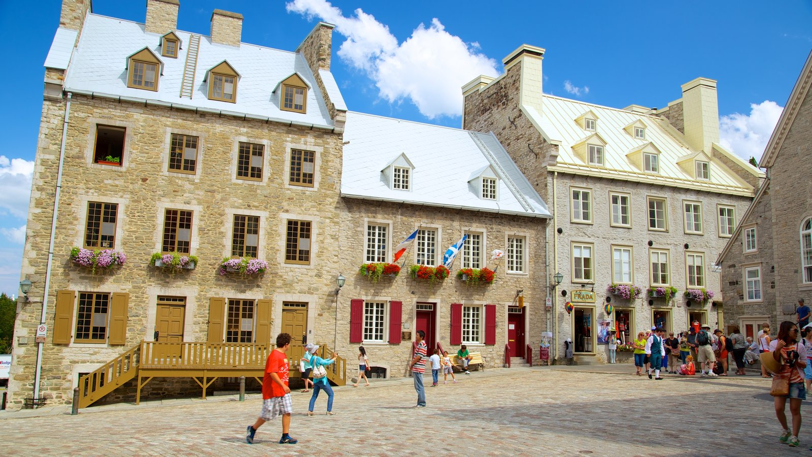 Place Royale showing a castle, heritage architecture and street scenes