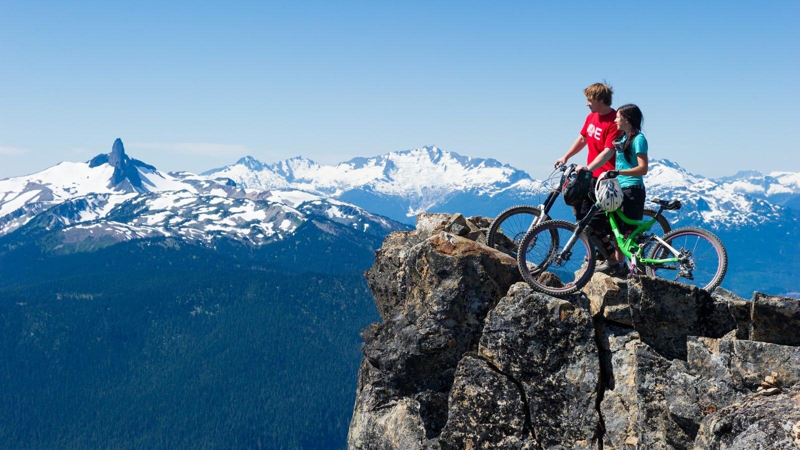 Whistler Ski Area featuring mountain biking, mountains and landscape views