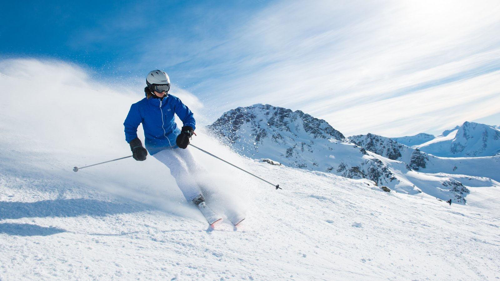 Whistler Blackcomb Ski Resort showing snow skiing and snow as well as an individual femail