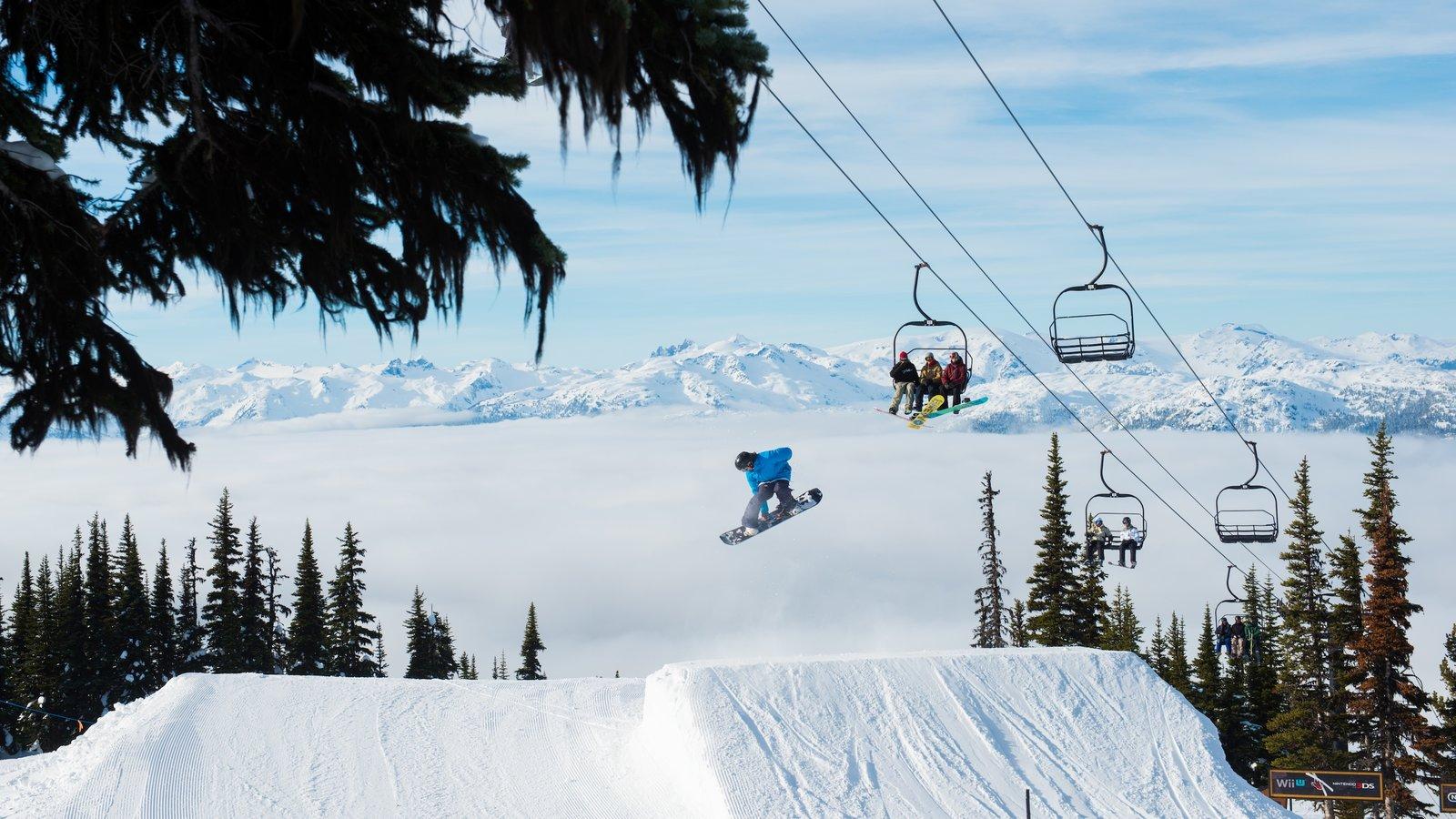Whistler Blackcomb Ski Resort showing a gondola, snow and snow boarding